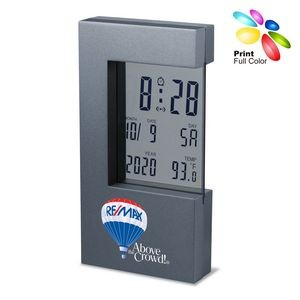 Heavy Zinc Alloy Large Display Digital Clock in Titanium Gray Finish