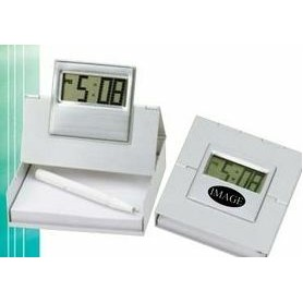 4-n-1 Metal Alarm LCD Clock with Pen Holder / Card Holder