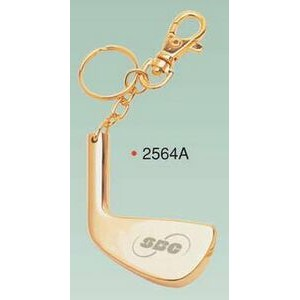 Gold Plated Brass Golf Club Key Ring w/ Clip (Engraved)