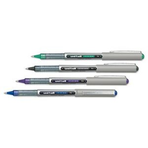 Uni-Ball Vision Capped Stainless Steel Tipped Pen WITH BLUE,BLACK,GREEN OR PURPLE INK