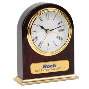 Classic Arched Top Piano Wood Finish Wooden Desk Alarm Clock with Gold Metal Base