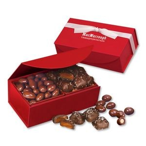 Chocolate Covered Almonds & Chocolate Sea Salt Caramels in Red Magnetic Closure Box