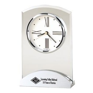 Howard Miller Tribeca Beveled Glass Desk Clock w/ Aluminum Base