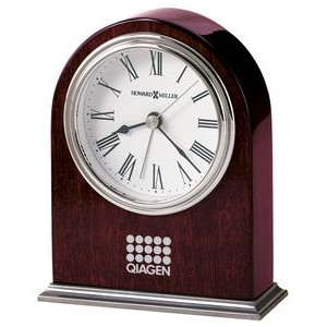 Howard Miller Walker Rosewood Arch Alarm Clock w/Nickel Finish Base