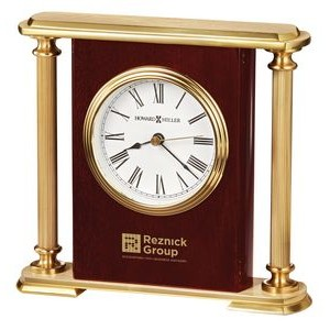 Howard Miller Rosewood Encore Bracket Clock w/ Brass Columns
