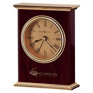 Howard Miller Laurel Rosewood Carriage Alarm Clock w/ Gold Dial