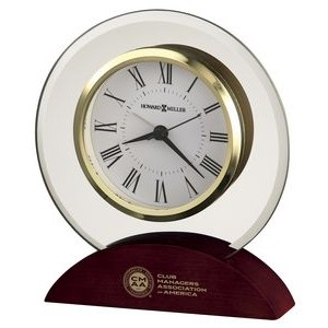 Howard Miller Dana Round Beveled Glass Clock w/ Rosewood Base