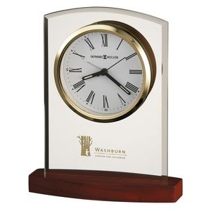 Howard Miller Marcus Curved Glass Alarm Clock w/ Rosewood Base