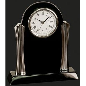 Stay On Time-Columns Black Piano Finish Desk Clock Award