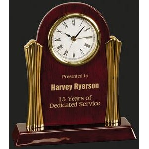 Stay On Time-Columns Rosewood Piano Finish Desk Clock Award