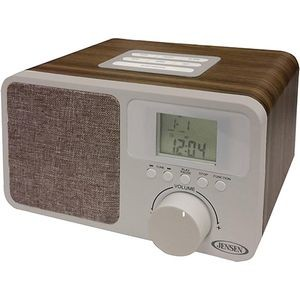 Jensen Digital AM/FM Dual Alarm Clock Radio with Wood Cabinet