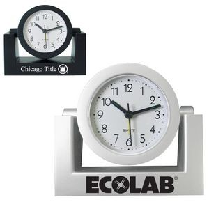 Standard Swivel Analog Desk Clock (Silver)