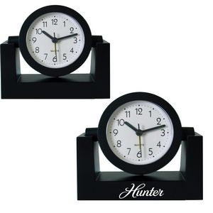 Standard Swivel Analog Desk Clock-BLACK