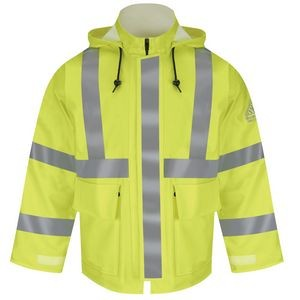 "Bulwark® Men's Hi-Visibility Flame-Resistant Rain Jackets w/ 2"" Reflective Striping"